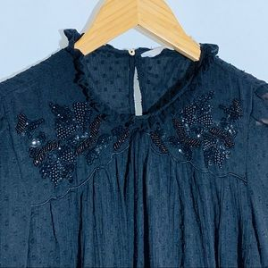 Zara trafaluc beaded and dotted blouse, size S